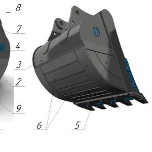 Ковш усиленный с межзубьевой защитой и протектором HD-2.1, 1 для Hitach
