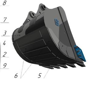 Ковш стандартный SB-2.1, 2 с бокорезами для экскаватора Hitachi ZX230LC